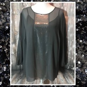 Talbots Sheer Grey Sequin Blouse